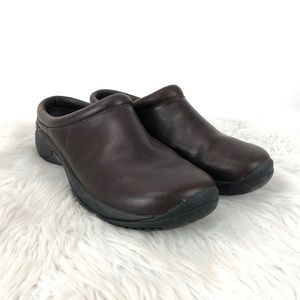 Merrell Brown Leather Air Cushion Slip-on Clogs
